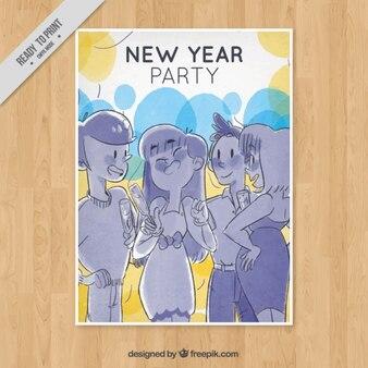 Plakat mit illustrationen für das neue jahr partei