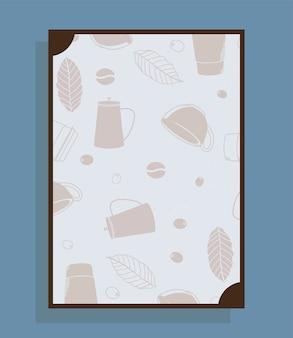 Plakat mit kaffeekannenbechern und blattthema