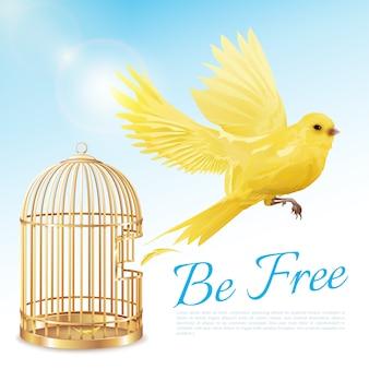 Plakat mit kanarienvogelfliegen vom offenen goldenen käfig