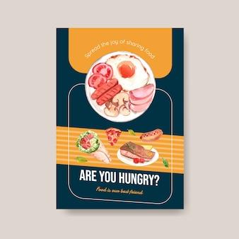 Plakat mit konzeptentwurf des welternährungstages für werbung und flugblattaquarell