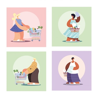 Plakat mit leuten im einkauf des supermarktes, soziale distanzierung durch coronavirus