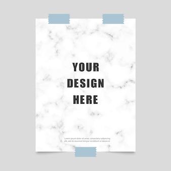 Plakat mit marmormuster und klebeband