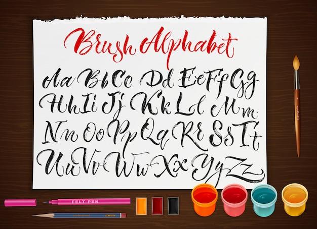 Plakat mit papierblatt mit alphabet
