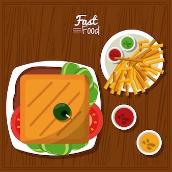 Plakat mit sandwich und soßen und fischrogen