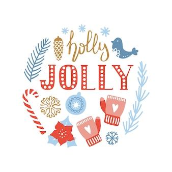 Plakat mit schriftzug holly jolly und dekorativen elementen.