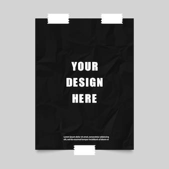 Plakat mit schwarzem zerknittertem papier und klebeband