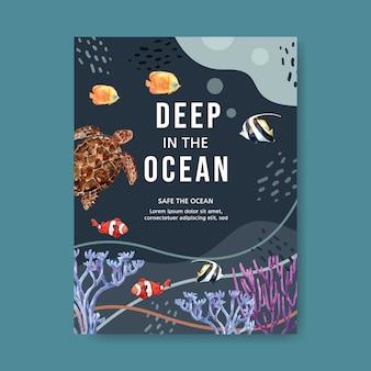 Plakat mit sealife-thema, schildkröte und fischen unter der seeillustrationsschablone.