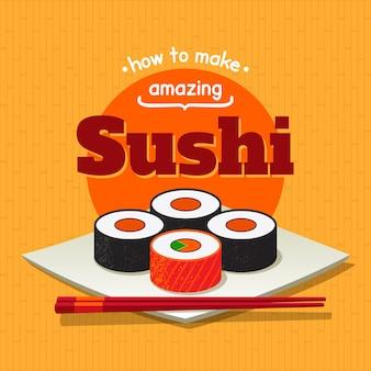 Plakat mit sushirollen und essstäbchen auf einem teller