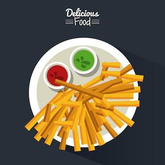 Plakat mit teller mit pommes frites mit soßen