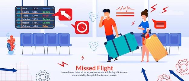 Plakat mit verärgerten passagieren und verpasstem flug
