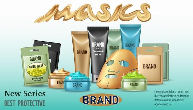Plakat mit verschiedenen arten von gesichtsmasken