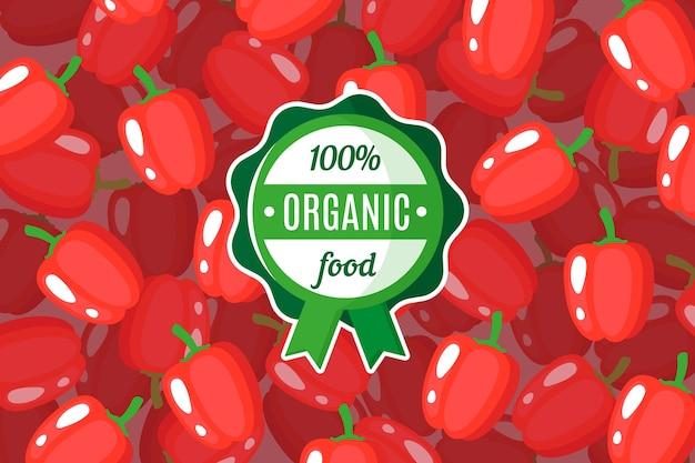 Plakat oder fahne mit illustration des hintergrunds der roten paprika und des runden grünen bio-lebensmitteletiketts