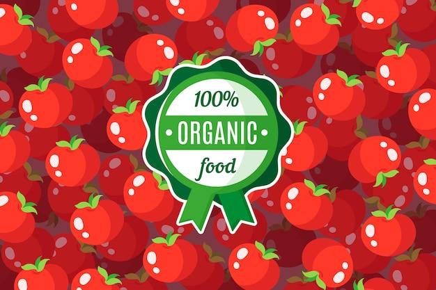 Plakat oder fahne mit illustration des roten tomatenhintergrunds und des runden grünen bio-lebensmitteletiketts