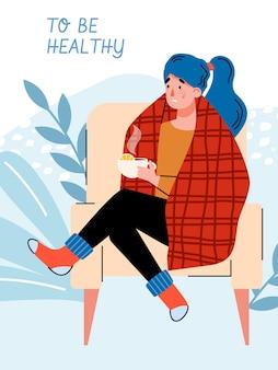 Plakat oder fahne mit kranker frau in der warmen kleidung, die heißen tee mit zitrone trinkt