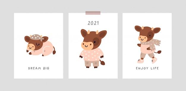 Plakat oder karte mit niedlichem babybullen, symbol des jahres 2021. kleiner kuhcharakter