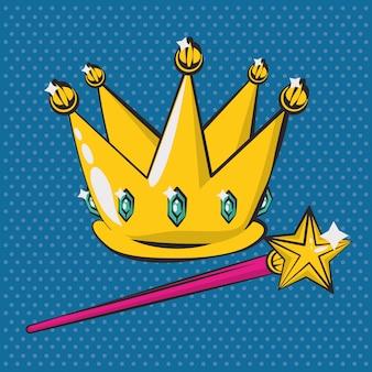 Plakat-pop-art-stil mit krone und zauberstab