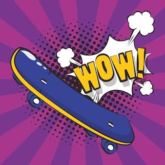 Plakat-pop-art-stil mit skateboard