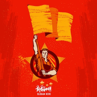 Plakat-revolution, welche die flagge anhebt