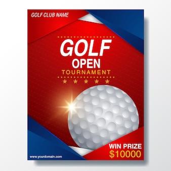 Plakat-schablone mit golfturnier