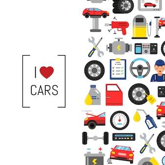 Plakat und fahne für autoserviceillustration