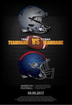 Plakat-vektor-illustration des amerikanischen fußballs