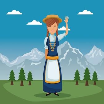 Plakat von der schweiz mit frau im traditionellen kostüm