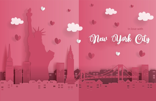 Plakat von new york city im papierorigamiart