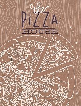 Plakat, welches die pizzahauszeichnung mit grauen linien beschriftet