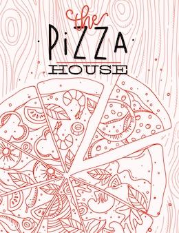 Plakat, welches die pizzahauszeichnung mit korallenroten linien beschriftet