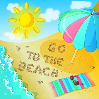 Plakat zum thema strand. eine einladung an den strand zu kommen.