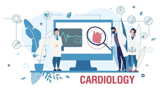Plakat zur förderung des kardiologischen onlinedienstes