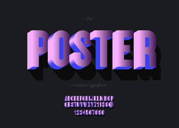Plakatalphabet 3d kühne art trendige typografie für die dekoration