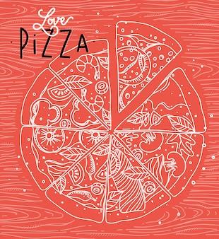 Plakatbeschriftungsliebes-pizzazeichnung mit grauen linien auf korallenrotem hintergrund