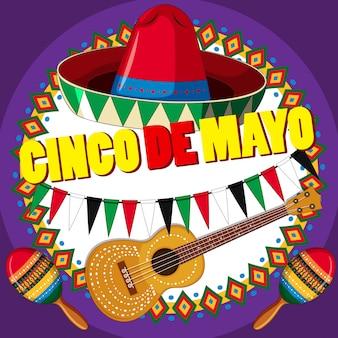 Plakatdesign für cinco de mayo mit hut und gitarre