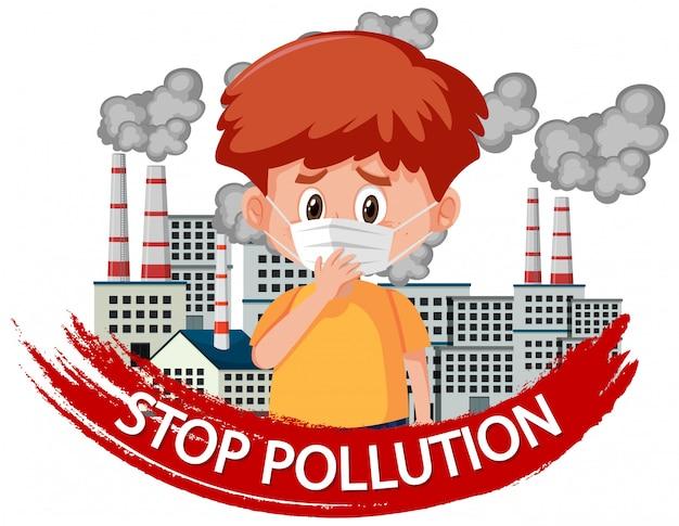 Plakatdesign für endverschmutzung mit tragender maske des jungen