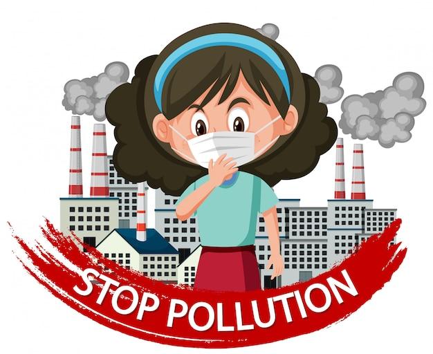 Plakatdesign für endverschmutzung mit tragender maske des mädchens