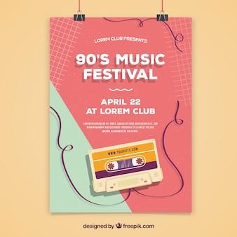 Plakatdesign für musikfestival der 90er jahre