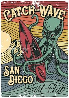 Plakatdesign mit illustration der krake und des surfbrettes
