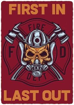 Plakatdesign mit illustration des feuerwehrmannschädels