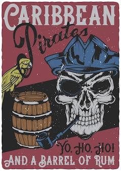 Plakatdesign mit illustration des papageien-, fass- und piratenschädels