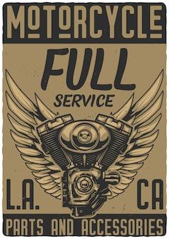 Plakatdesign mit illustrationen des motorradmotors und der flügel