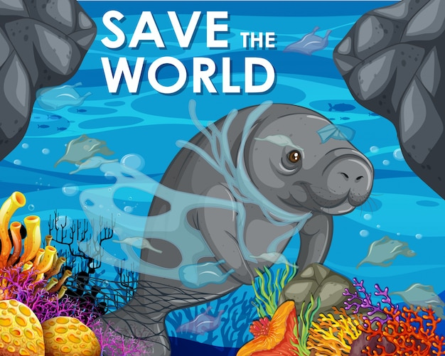 Plakatdesign mit manatis und plastiktaschen im ozean