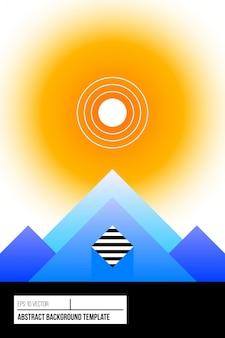 Plakatdesign mit stilisierter landschaft, bergen und sonne in der modernen art