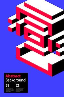Plakatdesignschablone mit isometrischer form in der bunten retro- minimalismusart.