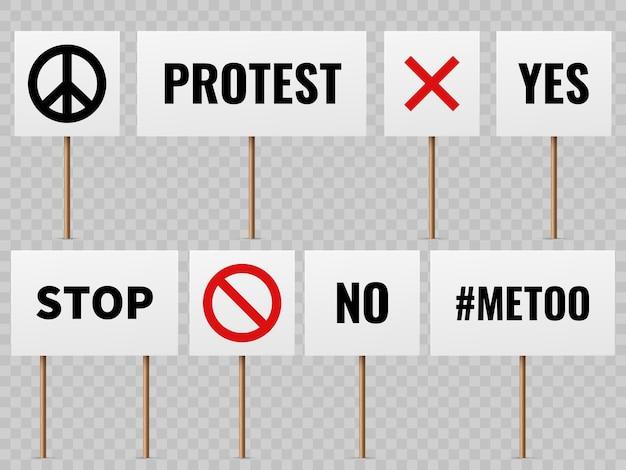 Plakate für demonstranten im politischen streik