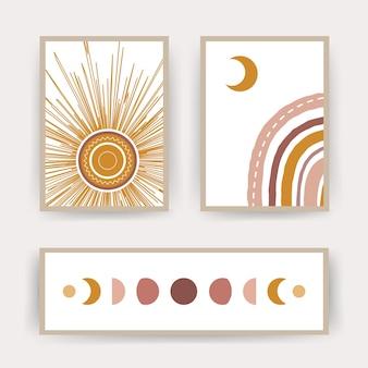 Plakate mit abstraktem regenbogen, mond und sonne. zeitgenössische geometrische illustrationen für den druck.