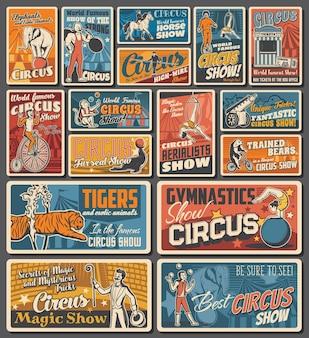 Plakate zum zirkus-jahrmarkt, zaubershow und tierunterhaltung