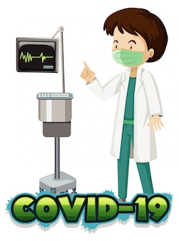 Plakatentwurf für coronavirus-thema mit arzt im krankenhaus