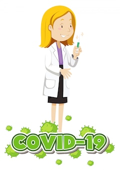 Plakatentwurf für coronavirus-thema mit arzt und impfstoff