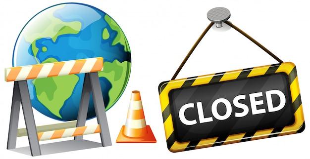 Plakatentwurf für coronavirus-thema mit geschlossenem zeichen auf der erde